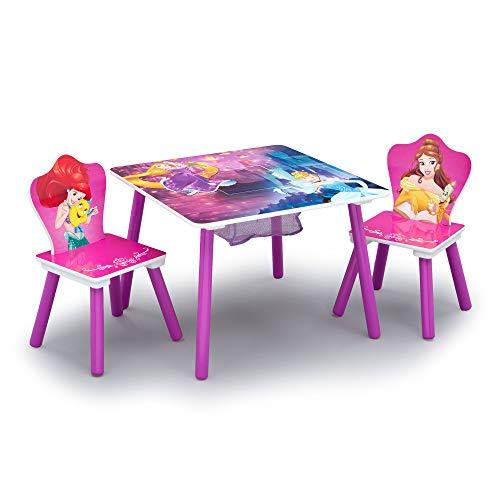 Delta Children Kids Table and Chair Set With Storage (2 Chairs Included) - Ideal for Arts & Crafts, Snack Time, Homeschooling, Homework & More, Disney Princess