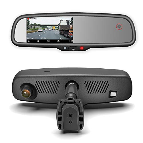 Master Tailgaters Rear View Mirror with Dual Camera HD DVR Dash Cam with Microphone + WiFi app (Records Forward and Inside Cabin Passengers)
