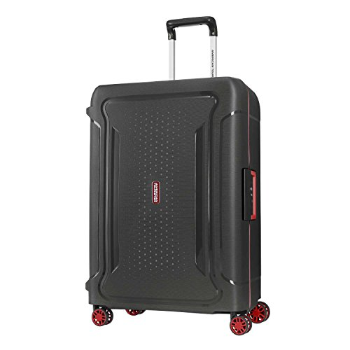 American Tourister Tribus Hardside Luggage with Spinner Wheels, Black, Checked-Medium 25-Inch