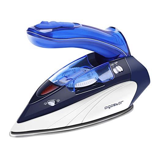 Aigostar Plancha de Vapor de Viaje con Mango Plegable Bivoltaje 120/240V 1100W Plancha Ropa Vapor Selector de Temperatura Depósito 80ml Azul