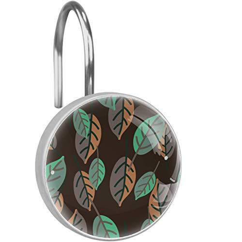 KAMEARI Ganchos para cortina de ducha, ganchos anti óxido, barras de cortinas con patrón de hojas verdes y acuarela, color marrón