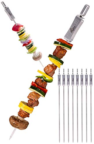FLAFSTER KITCHEN Skewers for Grilling- 16' Long Flat BBQ Skewers with Push Bar- Shish Kabob Skewers - Stainless Steel Skewer Sticks for Camping - Wide Reusable Sword Skewers - 8 Pack with Storage Bag