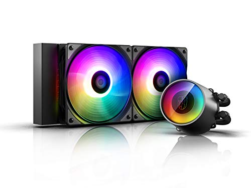 DEEP COOL Castle 240 RGB V2, CPU Refrigeración Líquida con Techología Anti-Fugas,Bomba y Ventiladores de Add-RGB, Controlado por Controlador y/o Placa Base, Garantía de 3 Años