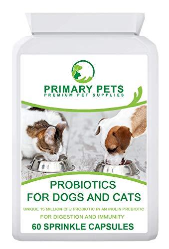 Primary Pets Premium Pet Supplies Probióticos para Perros. 60 Cápsulas en Polvo. 15mil Millones de UFC. Suplemento de Salud Digestiva para Perros. con prebiótico