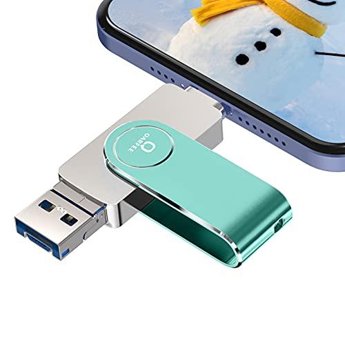 QARFEE Chiavetta USB per Smrtphone Memoria USB 128GB Phtotstick USB 3.0 4 in 1 Pen Drive per Phone iOS Android Smartphone Tablet PC Tipo C Porta (128GB, Verde)