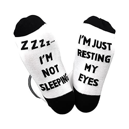 I'm Not Sleeping I'm Just Resting My Eyes Socks Funny Dad Gifts Novelty Crew Socks Birthday Gifts for Best Dad Grandpa