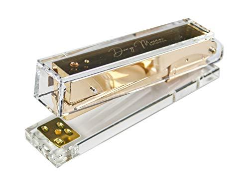 Dany Marcus Heftgerät aus transparentem Acryl und goldenem Metal, Tacker für Heftklammern 24/6, heftet 25 Blatt