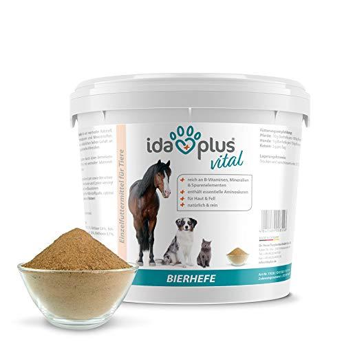 Ida Plus - Reines Bierhefe-Pulver - 3 kg - 100% Naturprodukt für Hunde, Katzen & Pferde - Futterergänzung für glänzendes Fell & kräftige Haut - reich an B-Vitaminen, Mineralien & Spurenelemente - 2