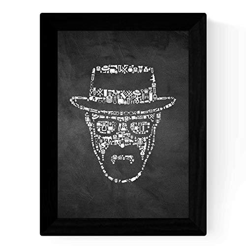 Nacnic Pellicola in Bianco e Nero Le Breaking Bad Icone sul Manifesto Formato A4 con Sfondo Nero Stile Lavagna. Carta 250 gr e inchiostri di Alta qualità.