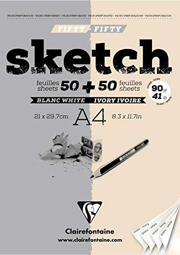 Clairefontaine 96609C Zeichenblock Kopfseitig Geleimt fifty/fifty, Din A4, 21 x 29.7 cm, 100 Blatt, 90 g, sortiert