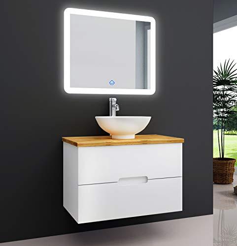 OIMEX TAMBUS 60 cm Designer Badmöbel Set Waschtisch Unterschrank mit Aufsatzwaschbecken auf Bambus Platte Holz auf Wunsch mit LED Spiegel und Armatur, Größe: Waschtisch mit Armatur und LED Spiegel