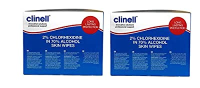 Clinell CA2CSKIN Skin Wipes, Alcoholic, 2% Chlorhexidine - 2 Pack from Clinell