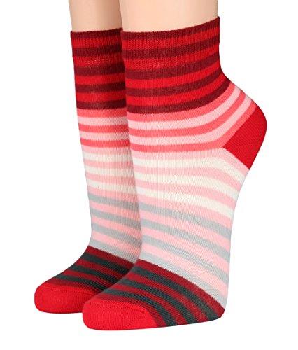 CRÖNERT Socken Kurzsocken Söckchen Multiringel bunte Ringel mit Weichb& 165802 (35-38, rot 1603)
