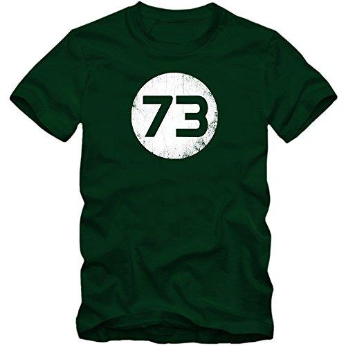 Sheldon T-Shirt #1   Herren   73 Lieblingszahl   The Big Bang Theory   TV-Serien-Fun-Shirts, Farbe:Dunkelgrün (Bottle Green L190);Größe:S