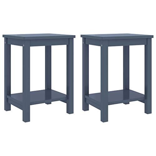 2 mesitas de noche de madera maciza, moderna y simple, mesa de sofá lateral para salón,...
