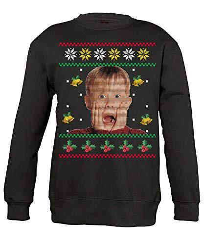 Quattro Formatee Kevin Allein Zuhause - Ugly Christmas Sweater Weihnachten Merry X-Mas Santa Claus Weihnachtsoutfit Pullover Sweatshirt | Schwarz | M