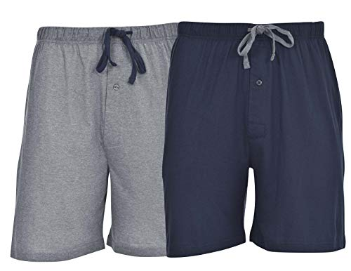 Hanes Men's 2-Pack Cotton Knit Short (Active Grey Heather/Bright Navy, Size Large)