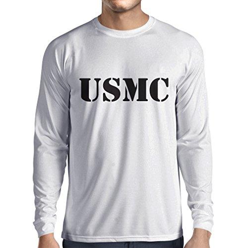 lepni.me Herren T Shirts USMC Emblem, Marine Corps, Marines Logo, US Navy Armed Forces (Medium Weiß Schwarz)