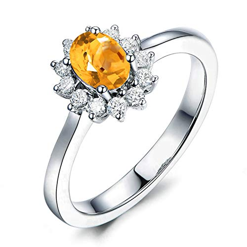 Adokiss Jewellery Ring 925 Silver Women, Engagement Rings Unique Oval 8X6MM Yellow Citrine with White Cubic Zirconia   Silver   Size S 1/2   Birthday Gift for Your Wife/Girfirend/Mother