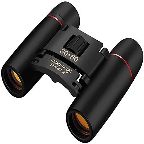 XVZ Prismáticos compactos, 30 x 60, pequeños prismáticos para adultos y niños, plegables, resistentes al agua, función de visión nocturna, para ver caza, senderismo, observación de aves, color negro