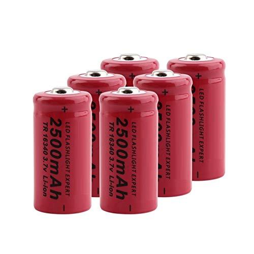 THENAGD 16340 Batería De Litio De 3.7v 2500mah, Celda De Iones De Litio Recargable para Vl123a Dl123a 5018lc Cr123a Cr17345 K123a 6pcs