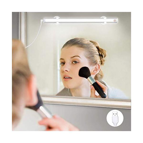 Elfeland-LED-Spiegelleuchte-Make-up-Licht-Spiegellampe-Schminklicht-Schminkleuchte-Tageslichtlampe-LED-Lichtleiste-Schrankleuchte-USB-Dimmbar-6500k-6W-Wei-fr-Badezimmer-Schrank-Kche
