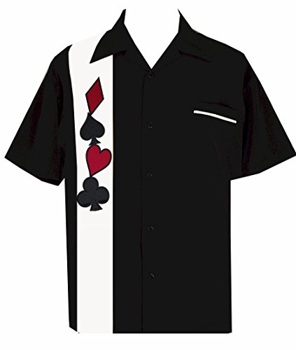 BeRetro Men'sShort-Sleeve Gambling Poker Shirt ~Wild Card Suit Casino T-Shirt