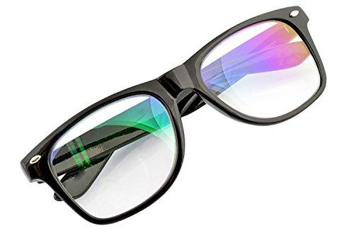 Hombre Mujere Retro Anti Reflejante Gafas Blue Light Filter Clear Lens Computer, Gaming, TV, Glasses UV MFAZ Morefaz Ltd (Black)