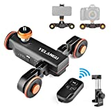 Camera Slider Motorized,YELANGU Rechargeable Camera Dolly with Wireless Remote Control, 3 Speed Adjustable Slider for 360 Degree Swivel,for DSLR Camera, Camcorder, Gopro,Smartphone with Phone Holder