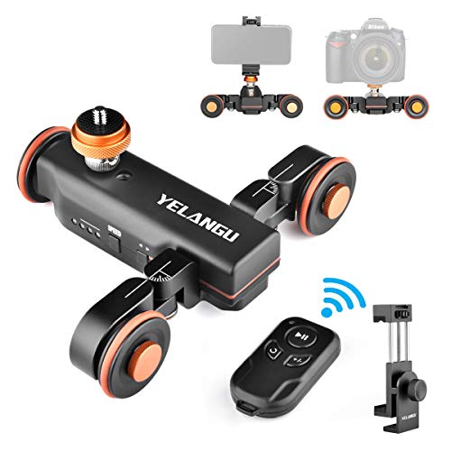 YELANGU Anto Camera Slider with Wireless Remote Control, 3 Speed Adjust Camera Video Dolly for DSLR Camera 360 Degree Swivel Shooting Motorized Electric Track Rail Slider Dolly Car with Phone Holder