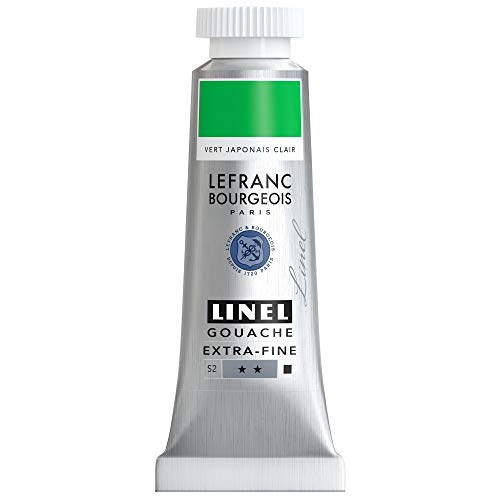 Lefranc Bourgeois Linel Gouache - Tubo extrafino (14 ml), color verde japonés claro