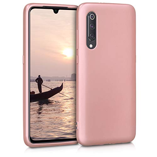 kwmobile Funda Compatible con Xiaomi Mi 9 - Carcasa móvil de Silicona - Protector Trasero en Oro Rosa Metalizado