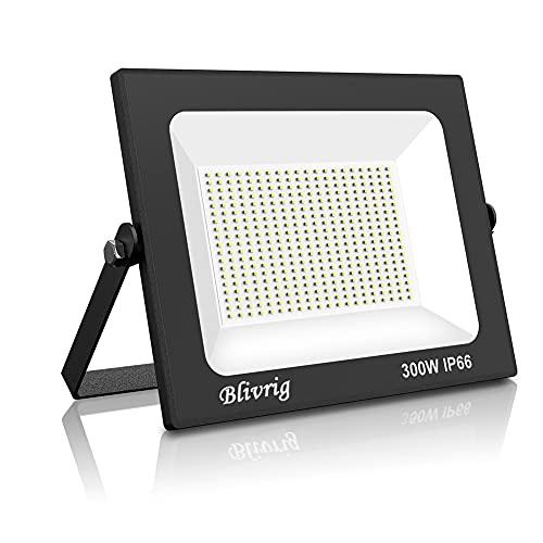 300W Faretto LED da Esterno, Blivrig 30000LM Proiettore Faro LED, Bianco Freddo 6000K ,Impermeabile IP66 Fari LED Lampada Luce di Sicurezza Potente Super Luminosa per Giardino Corridoio Cortile