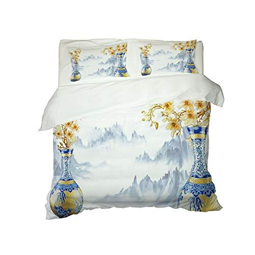 Kekeyt Duvet Cover Sets Large Vase With Landscape Scenery And Elegant Decoration Bedding Grey Kingsize Duvet Cover Sets 3D Hd Printing 200 X 200 Cm-Cotton adult children's bedding