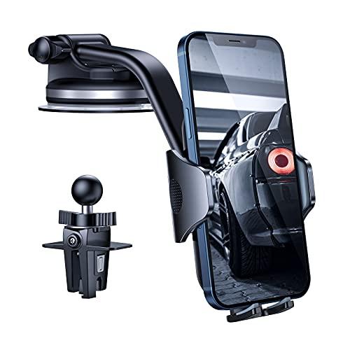 andobil Handyhalterung Auto [2021 Stärkere Version & Freie Sicht] KFZ Handyhalterung mit Saugnapf & Lüftungsclip 2 Haltesystemen Handy Halterung Auto für Alle Handys z.B iPhone 13/12/11 Samsung