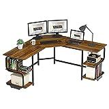 Teraves Modern L Shaped Desk with Shelves,Computer Desk/Gaming Desk for Home...