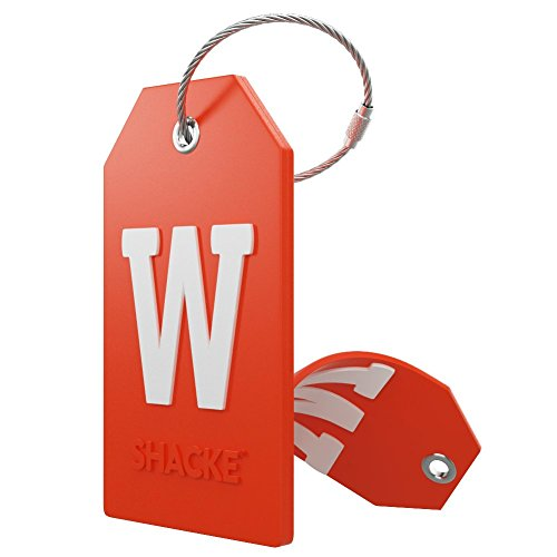Initial Luggage Tag with Full Privacy Cover and Stainless Steel Loop – (Letter W)