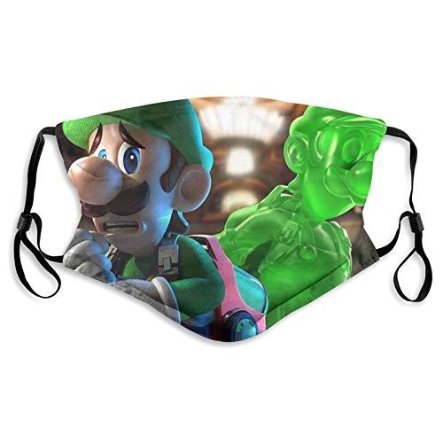 Luigis Ma_nsion 3 Game Hero - Funda facial de tela lavable con bolsillo de filtro, bucles ajustables para las orejas, 3 capas de algodón para las mujeres