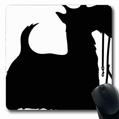 Mousepads für Computer Oblong Shape Companion Schwarzes Profil Scottie Hundeleine Wildlife Tail Canine Domestic Eager Pet Non-Slip Oblong Gaming Mouse Pad