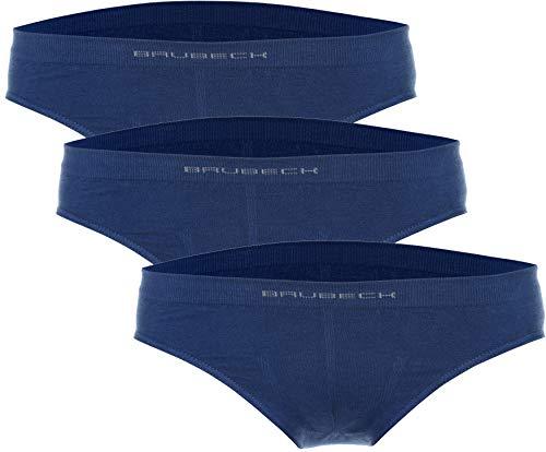 BRUBECK Kinder Jungen Unterhosen Slip 3er Pack | Blaue Slips nahtlos | Unterwäsche atmungsaktiv | Kinderunterhose Jungs | Boys Underwear | 81% Baumwolle | Hellblau, Gr.116-122 | BE10060