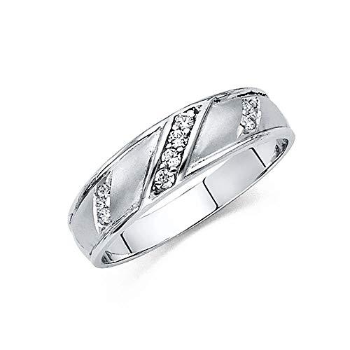 Anillo de boda de oro blanco de 14 quilates con circonita cúbica de imitación de diamante para hombre, tamaño T 1/2