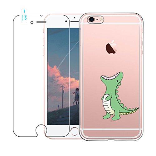 Funda iPhone 6,Funda iPhone 6S, Blossom01 Carcasa Suave TPU Gel Cover Transparete Dibujos Animados Anti-Rasguño con Protector de Pantalla de Vidrio Temperado-Cocodrilo Verde
