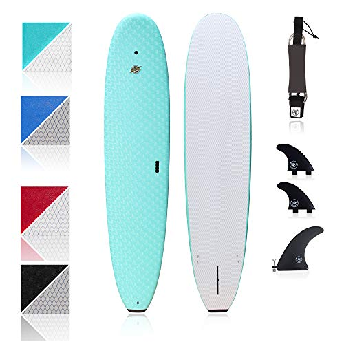 South Bay Board Co. - Premium Beginner Soft Top Surfboards - 8'8 Heritage - The Best Foam Surf Boards for Beginners, Kids, and Adults - Wax Free Soft Top Surfboards for Fun & Easy Surfing (Aqua)