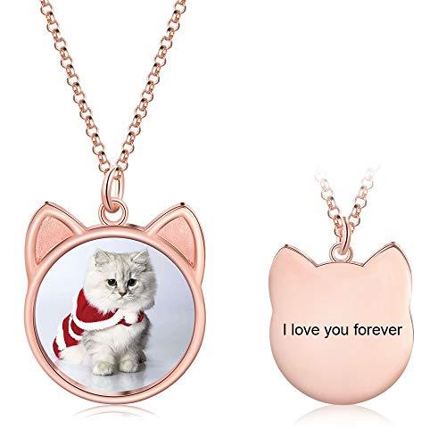 Personalisierte Halskette mit Foto Graviert Silber 925 Katzen Form Anhänger Frauen Mädchen Halskette Schmuck Souvenir Geschenk Geschenk für Muttertag Valentinstag (Silber)
