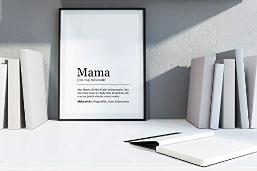 Ritter Mediendesign Bild Kunstdruck Mama Wort Grammatik Substantiv Poster Druck Deko Geschenkidee Muttertag (Din A4)