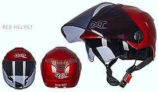 Leoie Unisex Summer Motorcycle Helmet Double Lens Sunscreen Half Helmet red Transparent