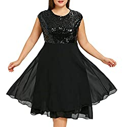 Black Sequin Plus Size Formal Round Neck Sleeveless Dress