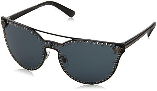 Versace Damen 0VE2177 100987 45 Sonnenbrille, Schwarz (Matte Black/Gray)
