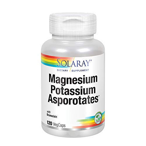 Solaray Magnesium and Potassium Asporotates w/Bromelain | Healthy Electrolyte, Muscle, Heart & Cellular Support | 60 Servings | 120 VegCaps