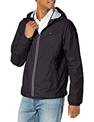 """Tommy Hilfiger Mens Lightweight Active Water Resistant Hooded Rain Jacket"""
